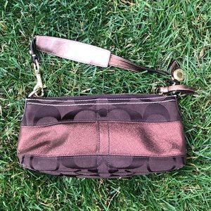 Brown and bronze coach bag